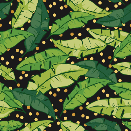 Seamless tropical floral pattern background with palm leaves. Vector pattern with green leaves