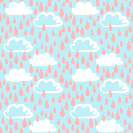 Hand drawn funny seamless pattern with clouds and rain drops. Vector wallpaper childish background Illustration