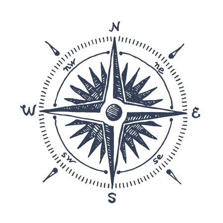 Compass wind rose hand drawn vector design element Illustration