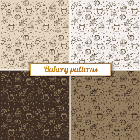 Hand drawn bakery seamless pattern background. Vector pattern for cafe designs Illustration