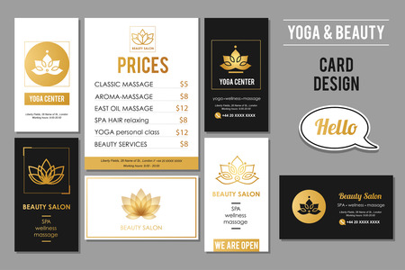 Beauty Salon and Yoga business cards design. Vector golden card templates for beauty and wellness services