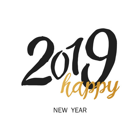 2019 happy New Year lettering styled card design with white background  イラスト・ベクター素材