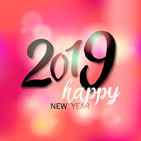 2019 Happy New Year lettering styled card design with pink bright background