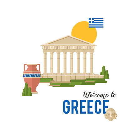 Welcome to Greece vector banner illustration with traditional Greek architecture and flag