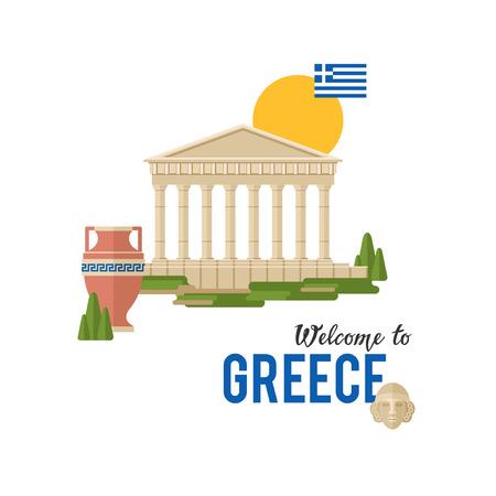 Willkommen in Griechenland-Vektor-Banner-Illustration mit traditioneller griechischer Architektur und Flagge