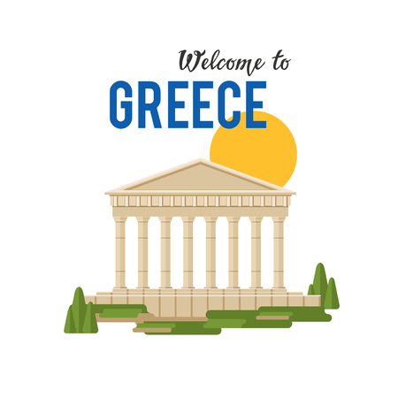 Welcome Greece vector banner illustration with traditional Greek architecture.  Illustration