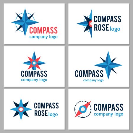 Vector compass symbols design collection. Business logo with compass elements  イラスト・ベクター素材