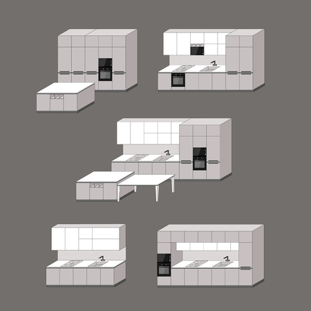 Kitchen design model combinations with perspective view. Collection of kitchen furniture with different design.  イラスト・ベクター素材