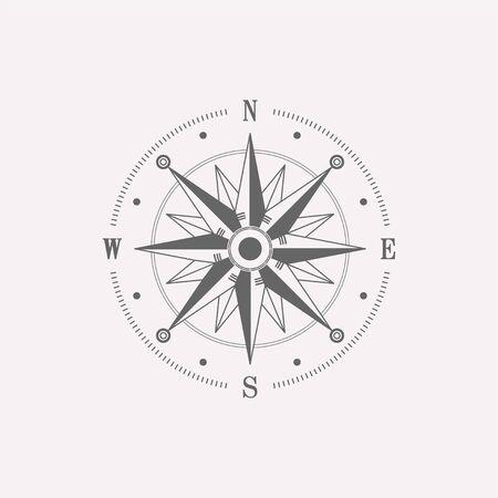 Élément de conception boussole rose des vents. Icône de navigateur vintage