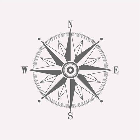 Compass wind rose vector design element. Vintage navigator icon.
