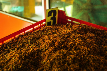 Detail of bulk Ceylon tea (orange pekoe leaves being dried) in plastic box labeled number 3, with green scenery behind windows. Kadugannawa Tea Factory, Kandy, Sri Lanka