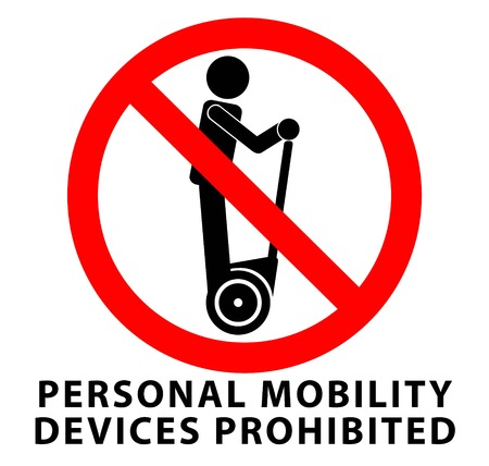 No personal mobility devices, prohibited sign. Man riding self-balancing transportation device icon in red crossed circle.