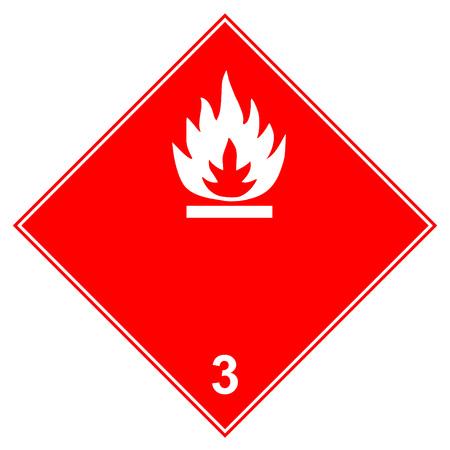 Peligroso: señal de advertencia de transporte de mercancías inflamables de clase 3. Icono de llama blanca en diamante rojo