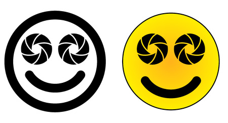 Twin dual lens mobile phone smiley face icon. Two camera aperture symbol instead of eyes.