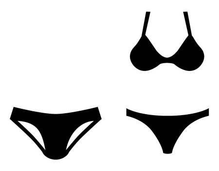 Man and woman swim wear icon symbol. Short briefs for man, and bikini for woman.