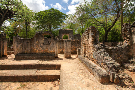 Remains of ancient african city Gede (Gedi) in Watamu, Kenya with trees and sky in background.