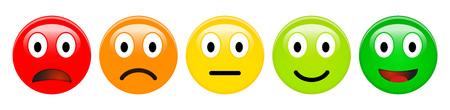 Feedback beoordelingsschaal van rode, oranje, gele en groene emoticons, 3d Smiley-pictogrammen in verschillende kleuren.