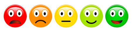 Feedback rating scale of red, orange, yellow and green emoticons, 3d Smiley icons in different colours. Reklamní fotografie - 102503297