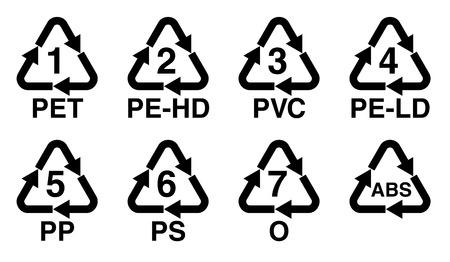 플라스틱 재활용 기호, 숫자 및 수지 식별 코드 기호가있는 재활용 삼각형.