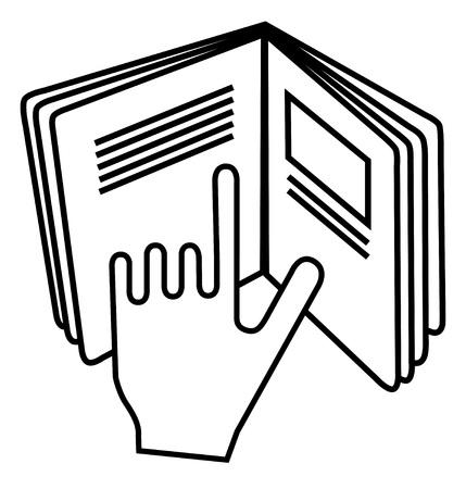 Consulte el símbolo de inserción utilizado en productos cosméticos. Firmar mostrando la mano apuntando al texto en un libro abierto que significa leer las instrucciones. Ilustración de vector