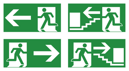 Emergency exit safety sign. White running man icon on green background - left, right and stairs version.