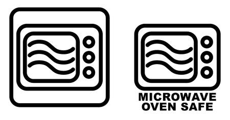 Icono de recipiente seguro para microondas. Dibujo de horno de líneas negras simples con tres curvas de onda en el interior. Solo símbolo gráfico y también versión con texto.