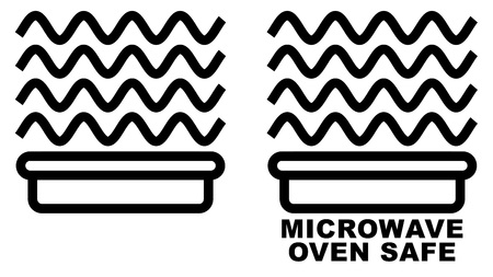 Microwave safe container icon. Simple black lines food container drawing with sinus waves above. Graphic symbol only and also version with text. Illustration