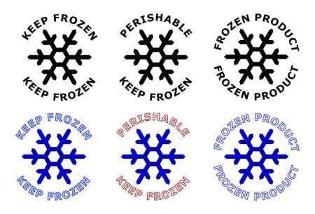 Houd bevroren teken. Sneeuwvloksymbool met tekst eromheen. Zwarte, witte en blauwe kleurenversie.