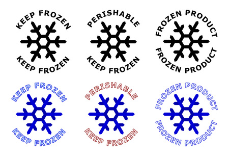 Keep frozen sign. Snowflake symbol with text around it. Black, white and blue color version. 写真素材 - 107085755