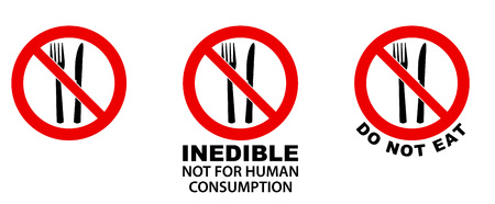 Do not eat, inedible, sign. Fork and knife in red crossed circle. Version without/with text below.