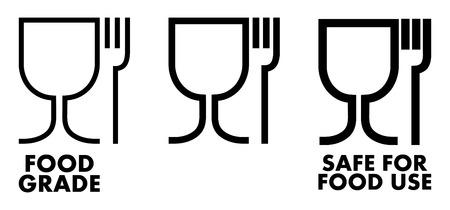 Znak materiału bezpiecznego żywności. Kieliszek do wina i symbol widelca oznaczający, że plastik jest bezpieczny. Ilustracje wektorowe