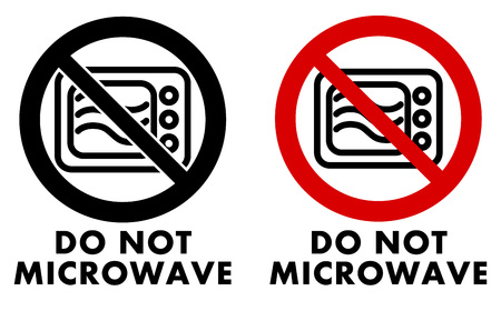 Do not microwave symbol. Oven icon in crossed circle with text under. Black and white / red version. Фото со стока - 110329978