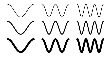 Simple cosine of x function graph. Wave with one, two and three periods, 3 stroke weight versions.