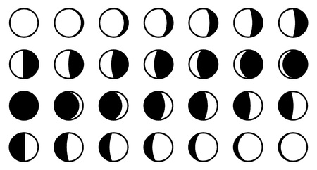 Lunar / moon phases cycle. All 28 shapes for each day - new, full, waxing, waning crescent, first, third quarter, gibbous. Vektoros illusztráció