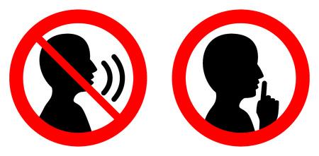Taci/silenzio, per favore firma. Persona incrociata che parla / icona Shhh in cerchio.