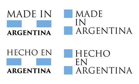 Simple Made in Argentina / Hecho en (spanish translation) label. Text with national colors arranged horizontal and vertical.
