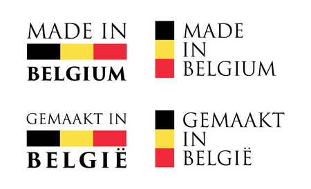 Simple Made in Belgium / Gemaakt in Belgie (dutch translation) label. Text with flag colors arranged horizontal and vertical.