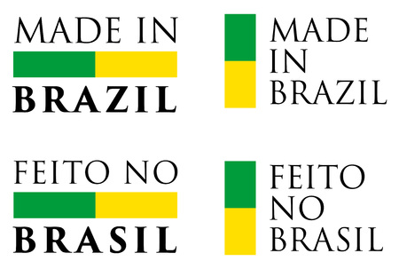 Simple Made in Brazil  Feito no Brasil (portuguese translation) label. Text with national colors arranged horizontal and vertical.