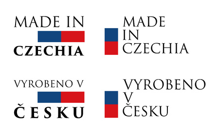 Simple Made in Czechia / Vyrobeno v Cesku (czech translation) label. Text with national colors arranged horizontal and vertical.