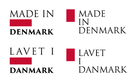 Simple Made in  Denmark / Lavet i Danmark (danish translation) label. Text with national colors arranged horizontal and vertical.