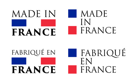 Simple Made in France (and French translation) label. Text with national colors arranged horizontal and vertical.