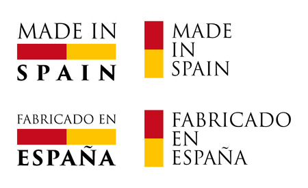 Simple Made in Spain  Fabricado en Espana (spanish translation) label. Text with national colors arranged horizontal and vertical. Illustration