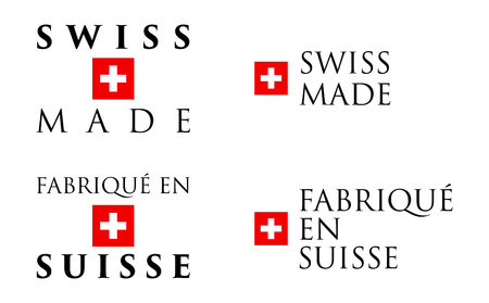 Simple Swiss Made / Fabrique en Suisse (french translation) label. Text with national helvetic cross symbol arranged horizontal and vertical.