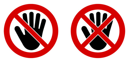 No entry symbol. Black hand icon in crossed and doublecrossed red circle