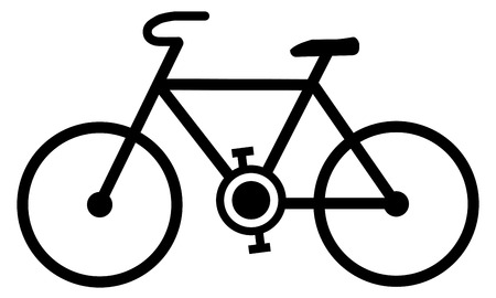 Simple bicycle icon. Black lines bike drawing on white background.