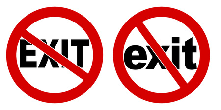 No exit sign. Black text in red crossed circle. Version with capitals and small letters  イラスト・ベクター素材