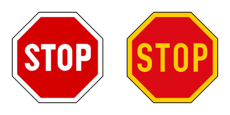 Stop sign. Version with slightly different fonts, yellow variant used in some parts of world.
