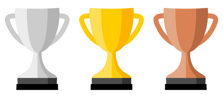Trophy cup icon, silver, gold and bronze version.
