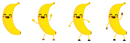 Cute kawaii style Banana fruit icon, eyes closed, smiling with open mouth. Version with hands raised, down and waving