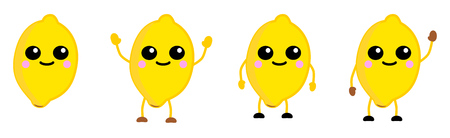 Cute kawaii style lemon fruit icon, large eyes, smiling. Version with hands raised, down and waving
